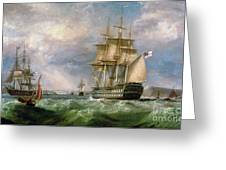 British Men-o'-war Sailing Into Cork Harbour  Greeting Card