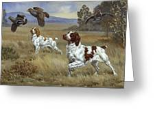 Brittany Spaniels Flush Three Birds Greeting Card