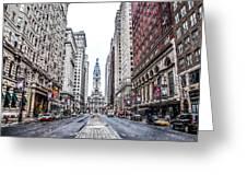 Broad Street Facing City Hall In Philadelphia Greeting Card