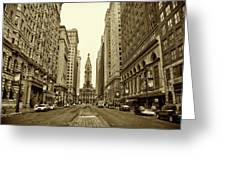 Broad Street Facing Philadelphia City Hall In Sepia Greeting Card