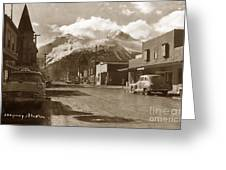 Broadway In Skagway Alaska Street Scene Circa 1957 Greeting Card