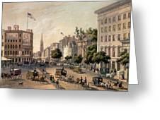 Broadway In The Nineteenth Century Greeting Card by Augustus Kollner