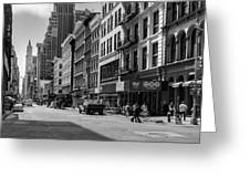 Broadway, New York In Black And White Greeting Card