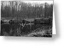 Broken Bridges In Black And White Greeting Card