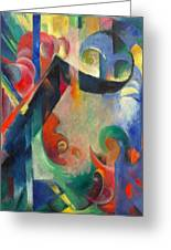 Broken Forms By Franz Marc Modern Bright Colored Painting  Greeting Card
