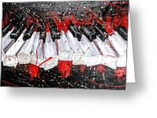 Broken Keys Red Greeting Card