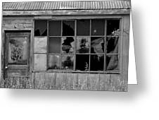Broken Store Front Black White Greeting Card