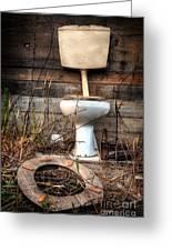 Broken Toilet Greeting Card by Carlos Caetano