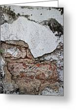 Broken White Stucco Wall With Weathered Brick Texture Greeting Card