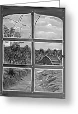Broken Window In Black And White Greeting Card