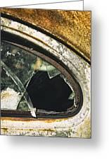 Broken Window On A Rusty Scraped Classic Car Greeting Card