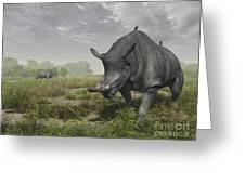 Brontotherium Wander The Lush Late Greeting Card by Walter Myers