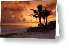 Bronze Beach Sunset Greeting Card