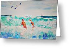 Brooke And Carey In The Shore Break Greeting Card