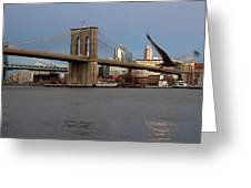 Brooklyn Bridge And Bird In Flight Greeting Card