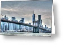 Brooklyn Bridge And The Lower Manhattan Financial District Greeting Card