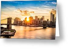 Brooklyn Bridge And The Lower Manhattan Skyline At Sunset Greeting Card