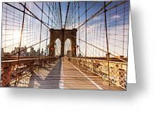 Brooklyn Bridge At Sunset, New York, Usa Greeting Card