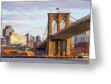 Brooklyn Bridge At Sunset Greeting Card