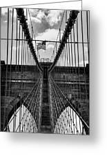 Brooklyn Bridge Bw Greeting Card