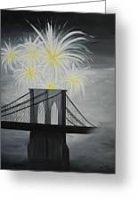 Brooklyn Bridge Fireworks Greeting Card