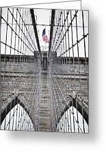 Brooklyn Bridge Flag Greeting Card