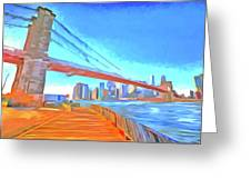 Brooklyn Bridge New York Pop Art Greeting Card