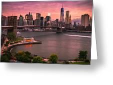 Brooklyn Bridge Over New York Skyline At Sunset Greeting Card