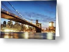 Brooklyn Bridge Panoramic At Night, New York, Usa Greeting Card