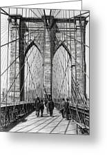Brooklyn Bridge Promenade 1898 - New York Greeting Card