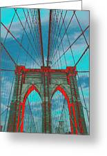 Brooklyn Bridge Red Shadows Greeting Card