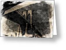 Brooklyn Bridge Reflection Abstract Greeting Card
