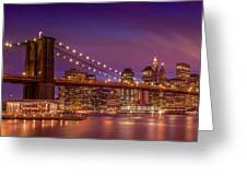 Brooklyn Bridge Sunset - Panorama Greeting Card