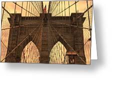 Brooklyn Bridge Sunset Greeting Card