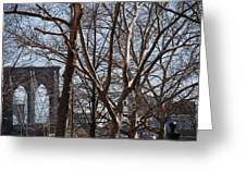 Brooklyn Bridge Thru The Trees Greeting Card