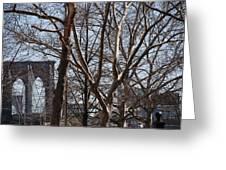 Brooklyn Bridge Thru The Trees Greeting Card