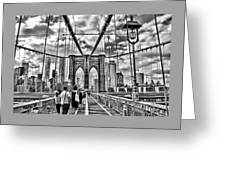 Brooklyn Bridge Walkway   B  And  W Greeting Card