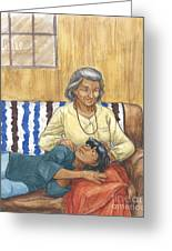 Brother Wolf - Grandmother's Lap Greeting Card by Brandy Woods