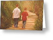 Brothers Into The Woods Greeting Card