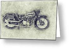 Brough Superior Ss100 - 1924 - Motorcycle Poster 1 - Automotive Art Greeting Card