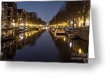 Brouwersgracht Canal In Amsterdam At Night. Greeting Card