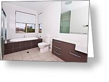 Brown And White Bathroom Greeting Card