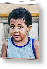 Brown Child - Paint Fx Greeting Card