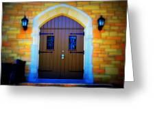 Brown Doors Greeting Card