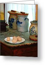 Brown Eggs And Ginger Jars Greeting Card