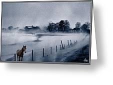 Brown Horse On A Blue Farm Greeting Card