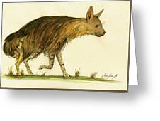 Brown Hyena Animal Art Greeting Card