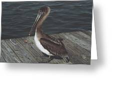 Brown Pelican On Pier 2 Greeting Card