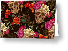 Brown Skulls And Flowers Greeting Card
