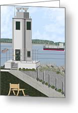 Browns Point Lighthouse On Commencement Bay Greeting Card